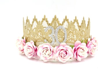 NEW Sienna Tall full size Remastered BIRTHDAY flower crown || rhinestone numbers || Any age || Love Crush Exclusive