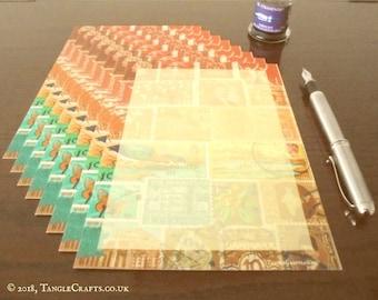 Postage Stamp Letter Writing Set | A5 Writing Paper Gift Set, Mail Art Letter Set | Bohemian World Travel Stamp Art Paper for Letter Writer