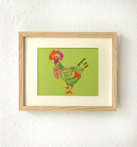 Huhn Kunst Huhn Kunstdruck Wandkunst Huhn Huhn Dekor Huhn