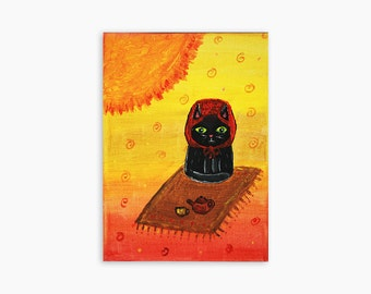 Original Painting, Whimsical Cat Art, Cat Painting, Cat Art, Cat Illustration, Acrylic Cat Art, Modern Cat Art, Contemporary Cat Art