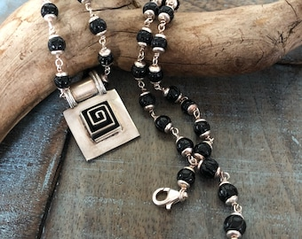 Wonderful Sterling modernist maze pendant and Sterling and onyx necklace