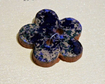 Handmade ceramic pottery buttons pair of small blue cream flower handpainted pottery button C104