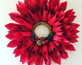 Christmas, Door Dahlia Wreath, Paper Dahlia Wreath,  Grapevine Wreath, Christmas Ornament, Christmas Decor, Large Wreath, Paper Flower