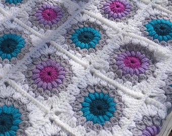 Crochet Sunburst Granny Square Blanket, Throw, Lap Blanket, Baby Blanket, Handmade, Bright Coloured