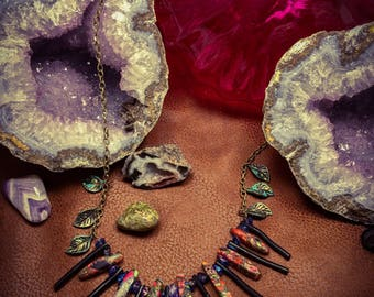 Dyed Jasper and Coral Necklace