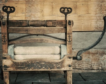Clothes Wringer Photograph  Laundry Room Decor Vintage Antique  Rustic Shabby Chic Home Decor Wall Art Fine Art Photography