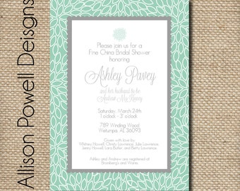 Teal and Grey Simple Modern Design Bridal Shower/Luncheon Printable Custom Invitation
