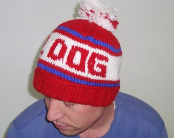 DR DOG, Personalized Gift for Boyfriend, for Mom, Friend, Women, Men, Husband, Personalized Hand Knitted Hat, Red, White, Blue