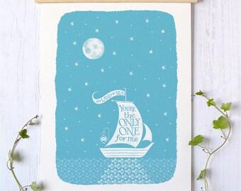 Sailing Boat Print   Valentines Gift   Valentine Gift   Anniversary Gift   Sailing Print   Nautical Print   Boat Print   Sailing Gift