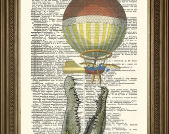 """STEAMPUNK BALLOON: Hot Air Flying Machine With Crocodile Attack! Vintage Dictionary Art Print (8 x 10"""")"""