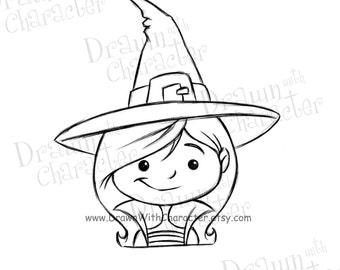 Cute Witch Digital Stamp/ KopyKake Image- F7-CWITCH