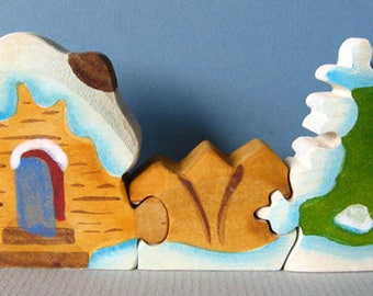Winter Cottage, wooden Waldorf puzzle toy, wholesome play
