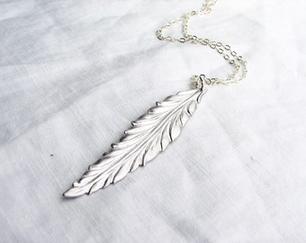 Silver Leaf Necklace ~ Silver Leaf Pendant ~ Silver Feather ~ Layering Necklace ~ Delicate Long Leaf ~ Bridesmaid Gift ~ Holiday Gift