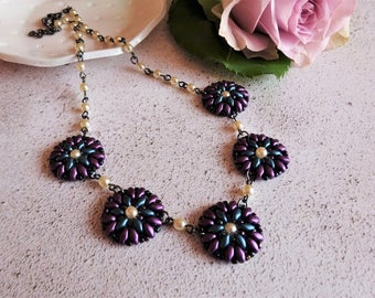 Unique wedding necklace, Wedding jewellery, Flower pearl necklace, Green and Purple jewellery, Ladies floral accessory, Mother's day gift.
