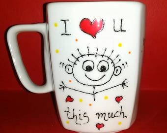 Handpainted mug. I love you this much mug with hearts. Valentine' s day gift!!