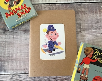 Policeman Notebook with vintage playing card cover A6 size