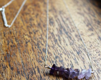 Amethyst and Sterling Silver Necklace Choker with a Gradient of Real Semi Precious Gemstones