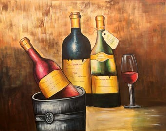A Date with Wine, Indian Artwork, Mixed Media