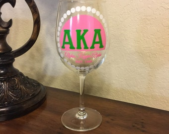 Alpha Kappa Alpha Pearls 12oz Wine Glass