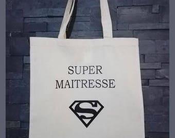 "tote bag - canvas custom centerpieces ""super teacher"" gift bag"