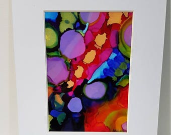 Emerge Mixed media original alcohol ink painting matted and ready to frame