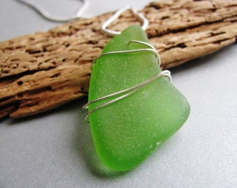 Handmade Jewelry,Beach Glass Pendant,Lime Green,Sterling Silver,Wire Wrapped,Sea Glass jewelry,Prince Edward Island Gifts of the Sea