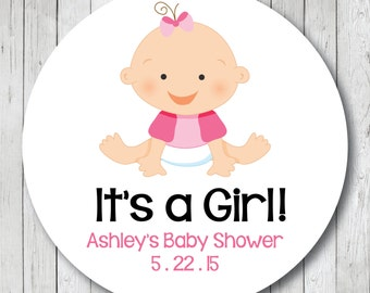 It's a Girl Baby Shower Stickers or Tags . Baby Girl Stickers