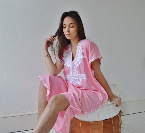 Pink with White Marrakech Resort Caftan Kaftan -beach cover ups, resortwear,loungewear, maxi dresses, birthd, Ramadan, Eid