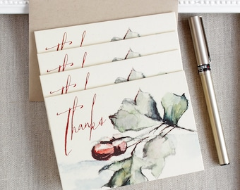 rustic acorn thank you notes - autumn foliage thank you note card set - fall wedding thanks