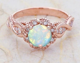 Emily Opal ring, opal ring, womens opal ring, October's birthstone