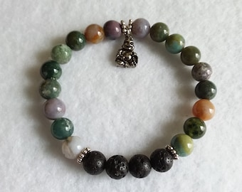 Oil Diffuser Bracelet, Indian Agate Stone, Healing, Meditative, Diffuser Jewelry, Lava Rock, Aromatherapy, FREE Oil Sample, Gift
