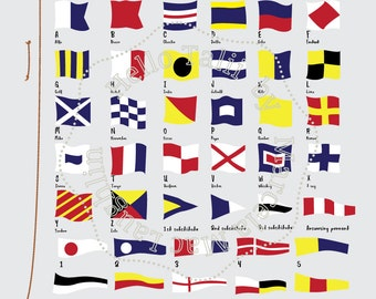 Nautical Flags and Pennants NAUTICAL CLIPART- International Maritime Signal Nautical Alphabet n Number Pennants Sailing Signs Navy Printable