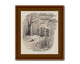 Beatrix Potter Cross Stitch Chart, Gateway from Wood to Field, Instant Digital Download Cross Stitch Pattern  (BP009)