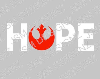 Free Shipping White and Red Two Toned Rebel Alliance Hope Decal Star Wars Rogue One