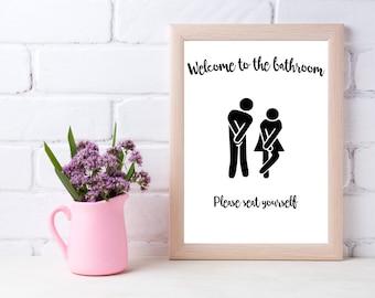 printable bathroom sign. Bathroom Wall Decor, Printable, Humor, Seat Yourself, Sign, Printable Sign