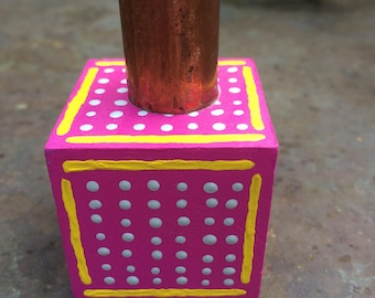 Hand Painted Wood Candle Holder - Magenta Lines and Dots