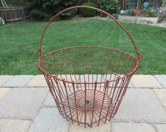Mid Century Wire Egg Basket - Red Painted Metal Wire Basket - Industrial Round Wire Basket
