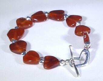 Carnelian Heart Bracelet with Heart Shaped Toggle Clasp