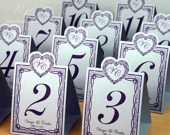 Wedding table numbers with your names - Tented Wedding Table Number Signs, Single Sided Table Cards, Tented Table Numbers - Shimmered