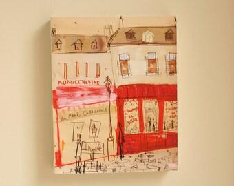 SALE 20% OFF PARIS Art Print, Paris Canvas Print, Paris Painting, Montmartre Paris, French Wall Art, Paris Buildings Houses, Paris Cafe Art