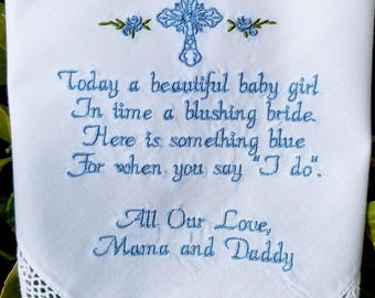 Baptism girl gift, baby girl gift, something blue, Baptism gift girl, Christening Gift, Detication gift, By Canyon Embroidery