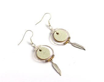"""Christmas gift women - earrings """"Nikiti"""" champagne gold leather, feather, plated silver"""