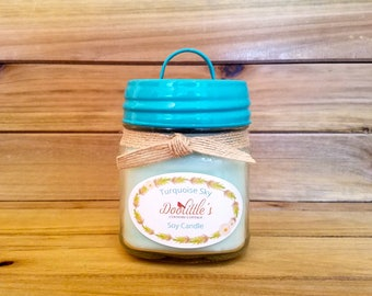 Soy Candle - Turquoise Sky - 8 oz Mason Jar Candle, Ocean Scented Candle, Sea breeze Candle, Natural Candle, Turquoise Candle, Jar Candle