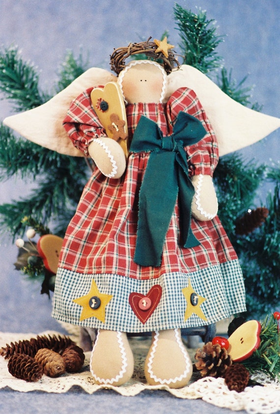 Sweet As An Angel - Mailed Cloth Doll Pattern  16in Gingerbread Holiday Angel Doll