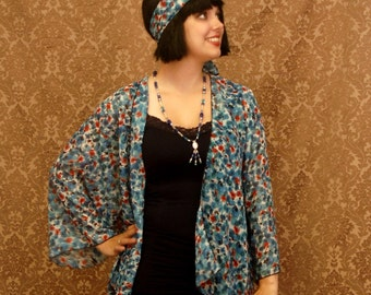 1920s Inspired Jacket ~ Poppies and Corn Flowers ~ Plus sizes available!