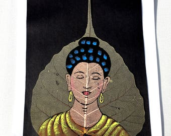 Buddha Oil Painting; Indian Oil Painting on Dried Leaf