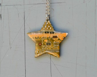 Super Mario Star Necklace, Geeky Nerdy Necklace, Computer Circuit Board Jewelry