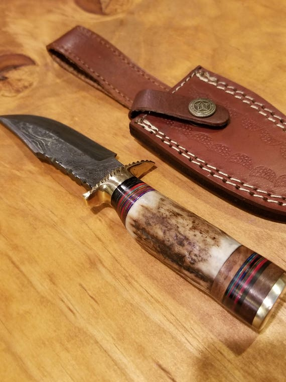 Handmade Deer Antler Handle Hunting Knife Damascus Blade Stag Horn Collection With Leather Sheath Outdoors Premium (A162)
