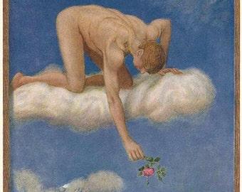JUNE by Hans Toma ~ angel on cloud ~ plucking rose ~ Pre-Raphaelite ~ romantic wall art ~ bathroom wall art
