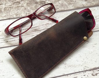 Personalized Leather Glasses Case Leather Reading Glasses Case Spectacles Case Sunglasses Case Gift for Dad Glasses Pouch Customized Gift